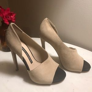 French Connection Velora Suede Open Toe Heels